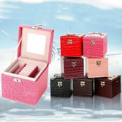 珠寶盒 首飾盒 飾品盒 鱷魚紋手提皮革...