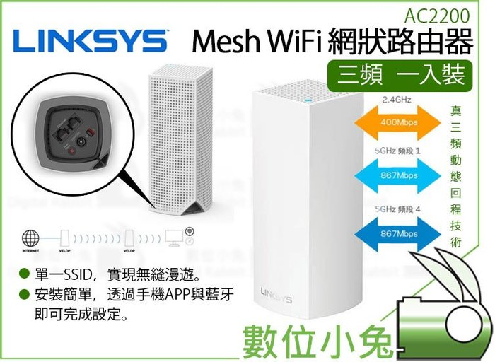 數位小兔【Linksys Velop 三頻 Mesh WiFi 網狀路由器 一入裝】分享器 智慧型 無線網路 公司貨