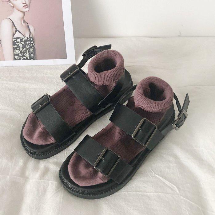 SeyeS fruits雜誌款個性暗黑系基本款百搭扣帶涼鞋