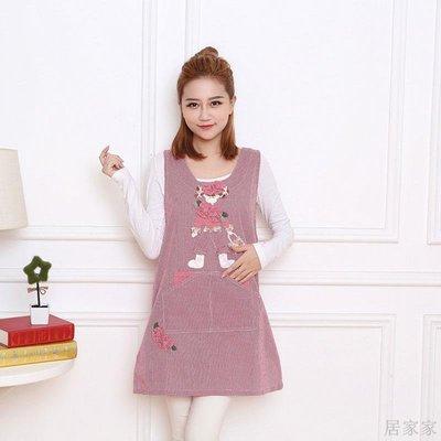居家家 純棉圍裙加大夏季簡約可愛馬甲防污廚房做飯時尚大號圍衣新款