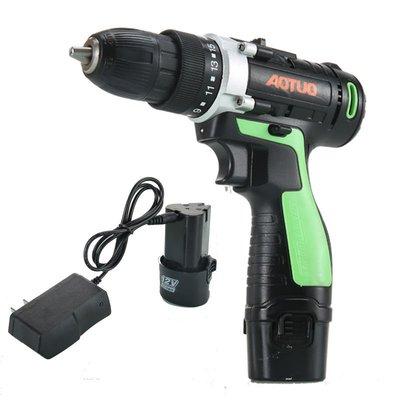 [電池促銷] AOTUO12V充電鉆電動螺絲刀正反轉調速充電式電動起子家用手電鉆