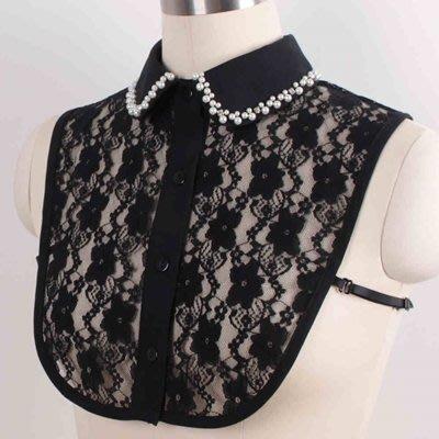假領子 襯衫 領片-珍珠鑲邊水鑽蕾絲女裝配件2色73va26[獨家進口][米蘭精品]