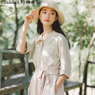 Littleluck~女裝很仙的復古香港短袖襯衫女夏季寬松小清新仙女范上衣洋氣襯衣百搭