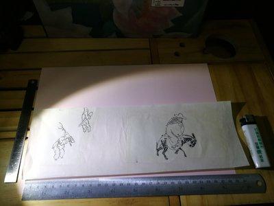 銘馨易拍重生網 107PB18 早期 前輩畫家手稿 樵夫騎馬行人 墨畫 ... 水墨畫稿 無款及保存如圖 讓藏