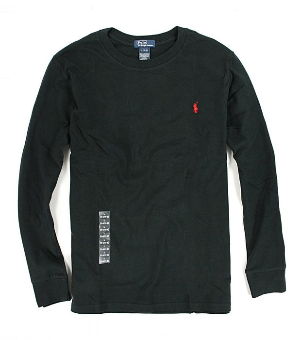 美國百分百【Ralph Lauren】RL 上衣 polo 男款 長袖 T恤 T-shirt 黑色 XS號 A161