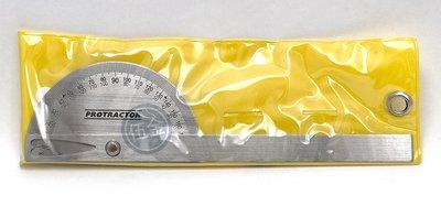 56工具箱 ❯❯ 0-180度 不銹鋼 角度規 角度尺 分度規 分度尺 量角器 Protractor 附收納袋