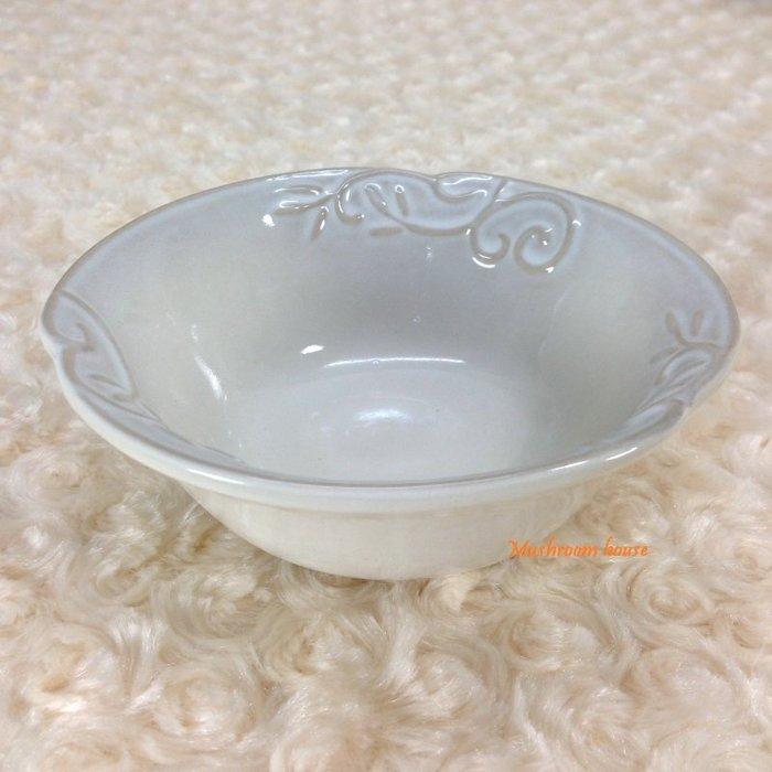 點點蘑菇屋 義大利WALD經典立體雕花大地色系列手繪高溫陶瓷碗(駝/白色) 飯碗 瓷碗 現貨