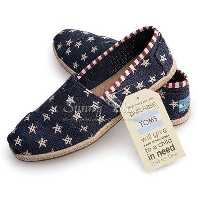 【TOMS】(女)TOMS Star 藍色星星洞洞麻底休閒懶人鞋*藍色 台北市