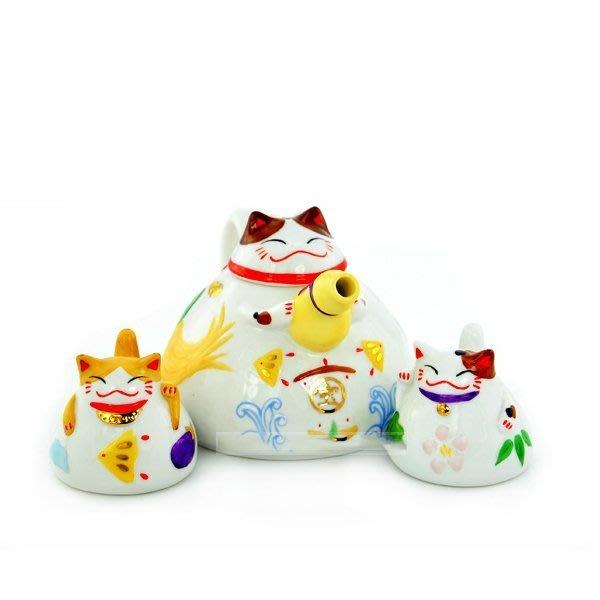 5Cgo【鴿樓】會員有優惠 2645065152 日系 茶壺三件套 招財貓陶瓷杯子帶蓋  情侶杯 二杯一壺