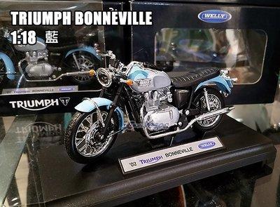 【嘉晟偉士】TRIUMPH BONNEVILLE T100 1:18 藍色 原廠質感 凱旋重機模型車 部分合金 機車模型
