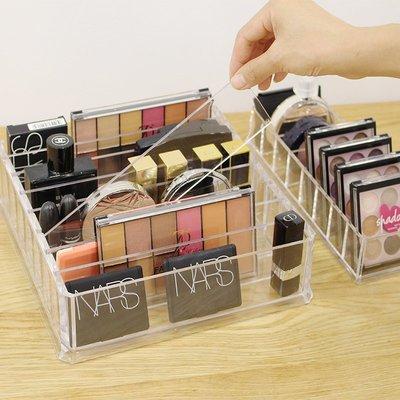 收納 粉餅眼影收納盒放口紅的化妝品收納盒女氣墊眼影盤腮紅架抽屜分隔