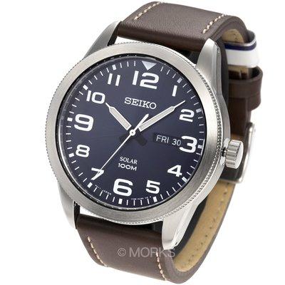 現貨 可自取 SEIKO SNE475P1 手錶 44mm 太陽能 數字時刻 藍色面盤 咖啡色皮錶帶 男錶女錶