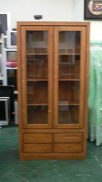 樂居二手家具 全新中古傢俱賣場 P170*新4抽2門柚木酒櫃*實木書櫃/高低玻璃展示櫃/收納櫃