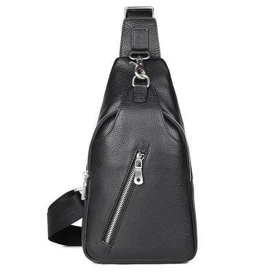 胸包真皮肩背包-牛皮大容量多隔層簡約男包包2色73vv7[獨家進口][米蘭精品]