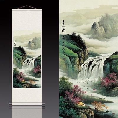 hello小店-春山飛瀑絲綢卷軸國畫風水畫可定制多款顏色新款家居裝飾#掛畫#裝飾畫#書法畫#