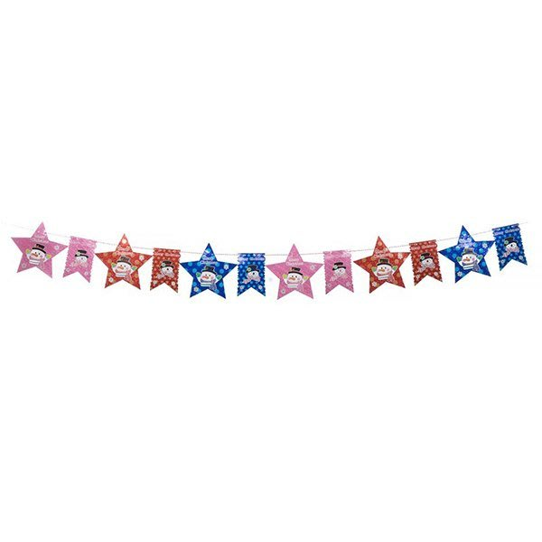 節慶王【X124503】串旗-大星+小旗,聖誕佈置品/聖誕節紙品/串旗/掛飾/吊飾
