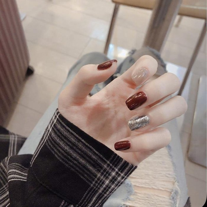 預售款-【服帖薄短款】穿戴美甲咖啡豆沙暗粉美甲成品指甲貼片91#美甲用品#指甲贴#指甲油#背膠甲貼#雙面指甲貼