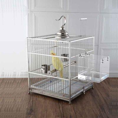 (如意家)304不銹鋼鳥籠方形八哥鷯哥虎皮牡丹鸚鵡籠繁殖全套大號鳥籠子