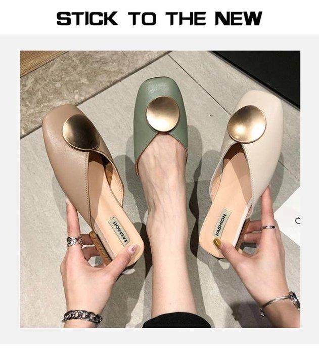 穆勒鞋包頭半拖鞋女夏新款時尚百搭粗跟無后跟懶人穆勒鞋外穿涼拖潮