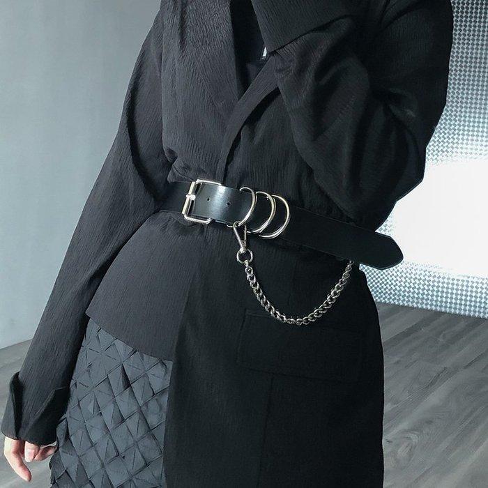 【鈷藍家】暗黑哲學個性凹造型腰帶女新款皮革針扣鏈條掛扣裝飾帥氣龐克風時髦腰鏈 cs