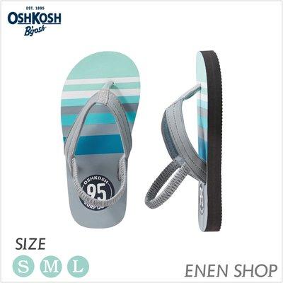 『Enen Shop』@OshKosh Bgosh 95 logo款夾腳拖鞋/人字拖/海灘鞋 #17FF07|S/L