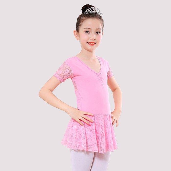 5Cgo【鴿樓】兒童芭蕾舞蕾絲裙修身舞蹈服裝少兒女童形體夏季短袖表演練功服女童舞衣594541271259