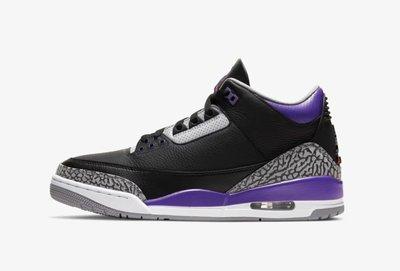 Nike Air Jordan 3 Court Purple 黑紫爆裂紋 鳳凰城太陽配色。太陽選物社