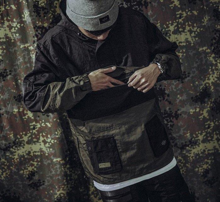 GHK - Pullover Jacket G13 - Abstract 衝鋒衣 軍綠-軍事 工裝 高端 潮流 街頭