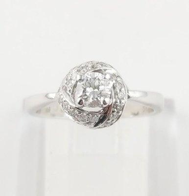 (可缐上無息分期刷卡)鑽石戒指 主石30克拉/附石约0.20  14K白金  國際戒圍9.8號