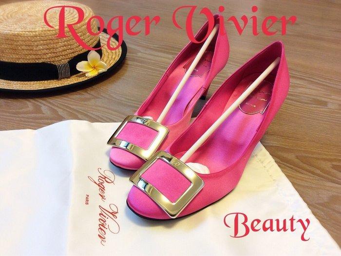 *Beauty*Roger Vivier芭比螢光粉紅緞面高跟鞋  36.5號 WE15 結婚鞋