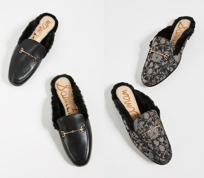 ◎美國代買◎Sam Edelman gucci風毛毛滾邊鞋身金屬鏈條裝飾鞋面復古時尚街風毛毛皮拖鞋平底鞋