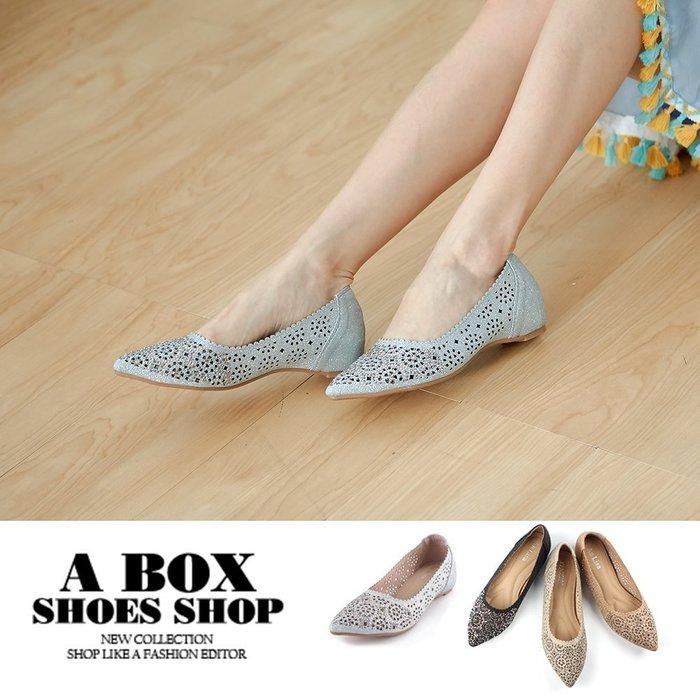 格子舖*【Ki817-223】尖頭包鞋 娃娃鞋 隱形內增高3CM 蕾絲雕花金蔥皮革奢華水鑽 4色