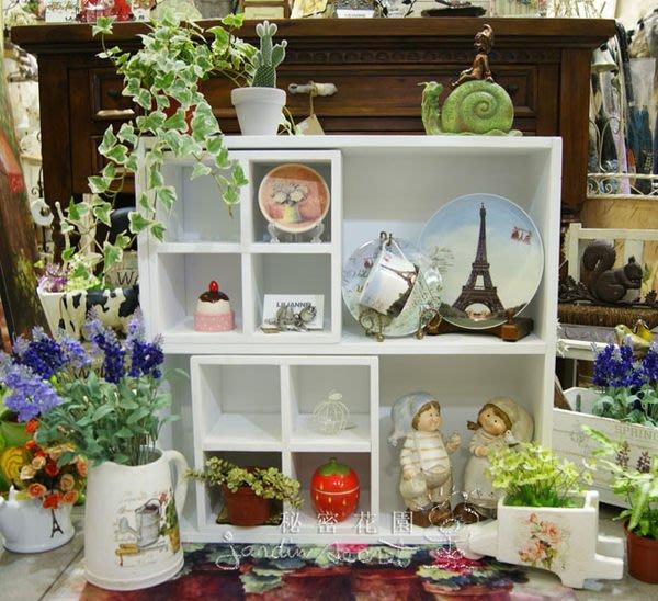 白色木作展示櫃--秘密花園--南法鄉村風刷白木作櫃中櫃(雙層櫃+4格中空小櫃)