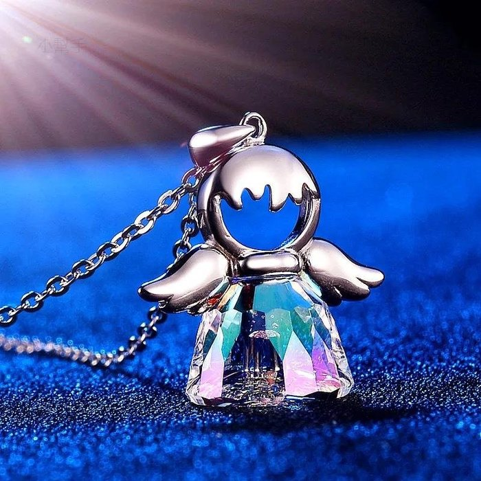 S925純銀項鏈小天使水晶吊墜鎖骨鏈女歐美風婚禮 新麗小舖