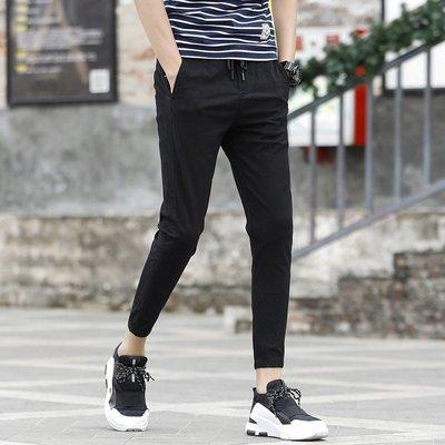 男休閒褲長褲 九分褲潮流時尚系帶松緊束腳新品褲韓版xt827