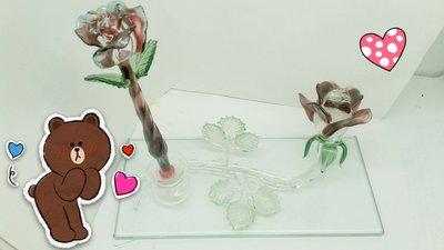 [玻璃國] 手工 玻璃筆 紅玫瑰花琉璃筆+紅玫瑰花墨水座 送禮自用皆宜(1組特價2200元)(琉璃筆永久免費維修)