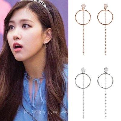 【韓Lin代購】韓國 GET ME BLIN- 明星同款抗敏銀長耳環 STARRY CIRCLE DROP