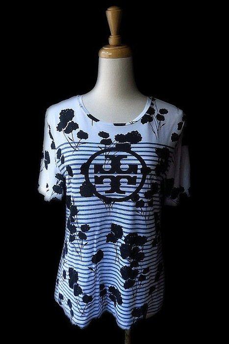 *Beauty*TORY BURCH白底條紋短袖T恤 XS  號  3800   元