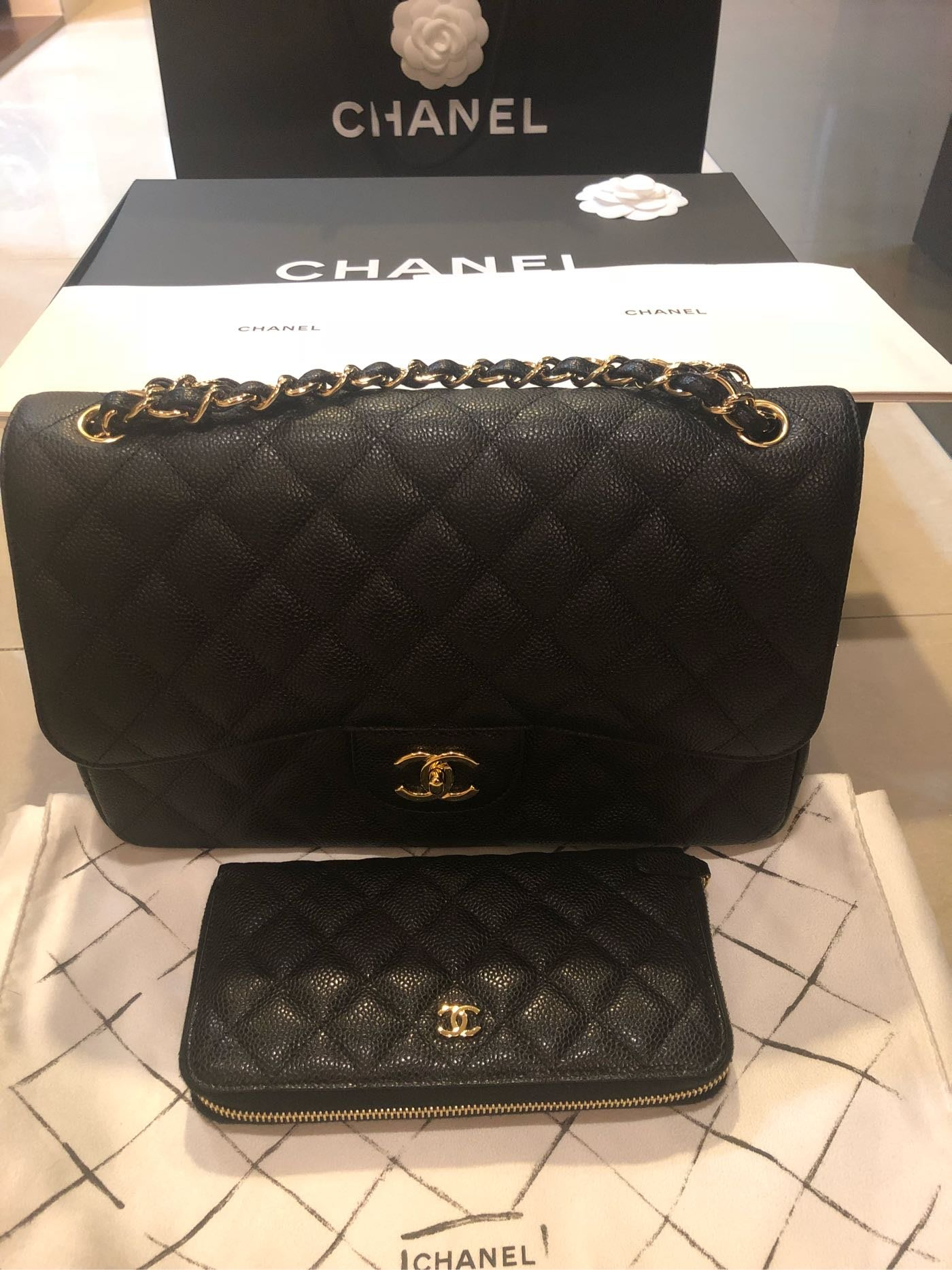 Chanel coco Jumbo 30cm+拉鍊長夾(金)兩件商品