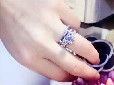 日韓時尚白銀白金無限符號求婚戒指結婚戒...