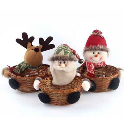 聖誕節裝飾品糖果筐創意老人雪人糖果籃聖誕禮物筐水果筐藤編織筐