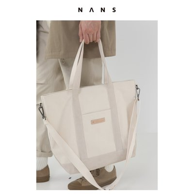 【NANS】反絨皮拼接三用重磅帆布包 / THREE-USE CANVAS BAG