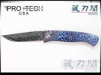 《藏刀閣》Protech-(Brend 2)SMALL BREND-藍鈦馬柄大馬鋼限量彈簧刀