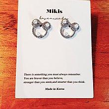 Mikis推薦 3月正韓【優惠!水鑽珍珠米奇銀針耳環】一色