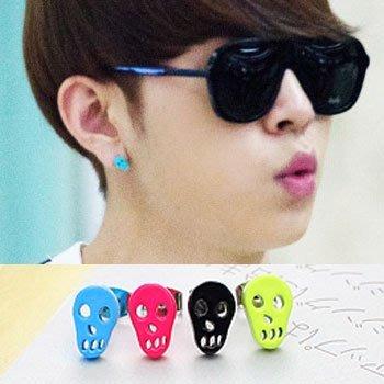 【 特價 】韓國進口ASMAMA官方正品 Highlight BEAST 龍俊亨 同款糖果色骷髏耳釘耳環(單支價)