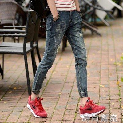 ZIHOPE 牛仔褲春季破洞九分牛仔褲男士束腳褲潮流韓版修身小腳褲學生哈倫褲子男ZI812