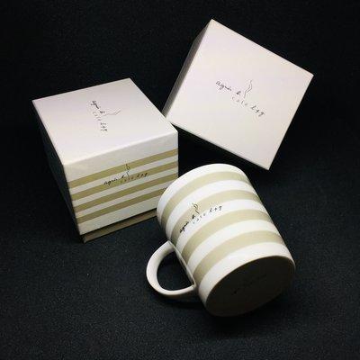 全新免運 法國 Agnès b. CAFÉ  agnes b 【簡約條紋款】限量紀念馬克杯 附盒