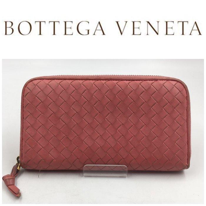 【皮老闆二店】二手真品 Bottega Veneta riri拉鍊 BV編織長夾 錢包 長夾 皮夾  藍333