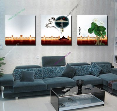 【70*70cm】【厚2.5cm】東方古韻-無框畫裝飾畫版畫客廳簡約家居餐廳臥室牆壁【280101_392】(1套價格)
