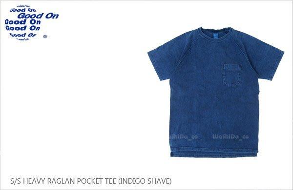 WaShiDa【gost1101is】Good On 日本品牌 INDIGO SHAVE 重磅 斜肩 藍染色落 口袋 T